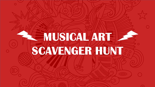 Printable coloring sheet & scavenger hunt for musical items hidden in modern art for children and adults. Age 10+. Sign up for FREE trial!