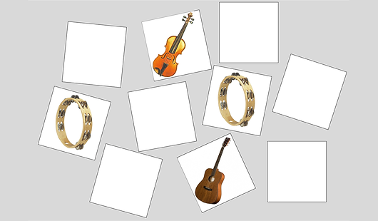 Find the cards with matching instruments in this memory challenge for the entire family, from children to adults. Age 5+. Sign up for FREE trial!