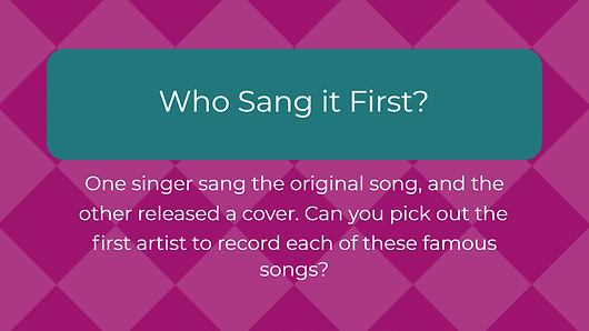 Game-show-style cover song trivia game for the entire family, from children to adults. Age 13+. Sign up for FREE trial!