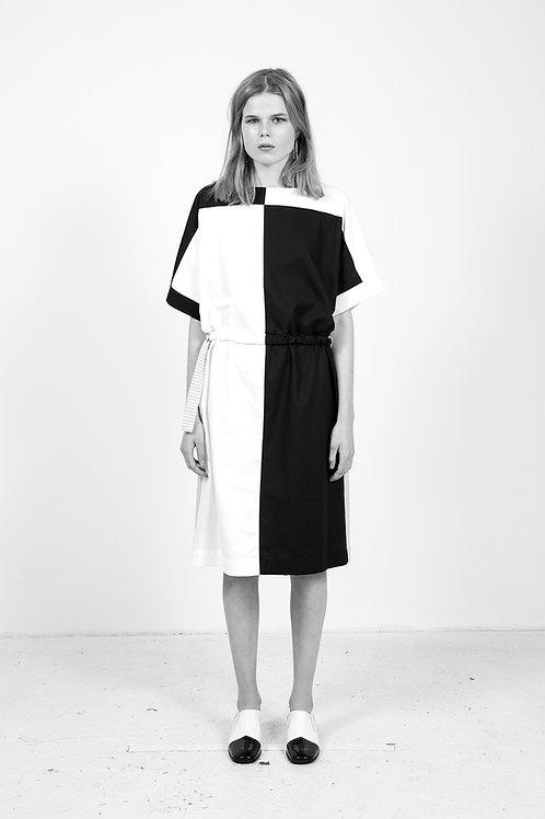 Black and White Reversible Midi Dress
