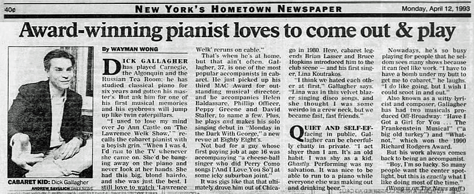 DICK GALLAGHER DAILY NEWS 1993