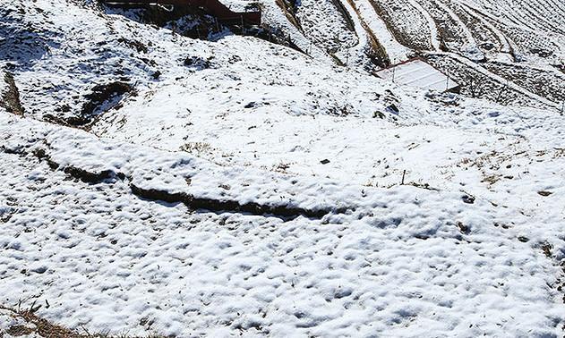 雪の積もった棚田