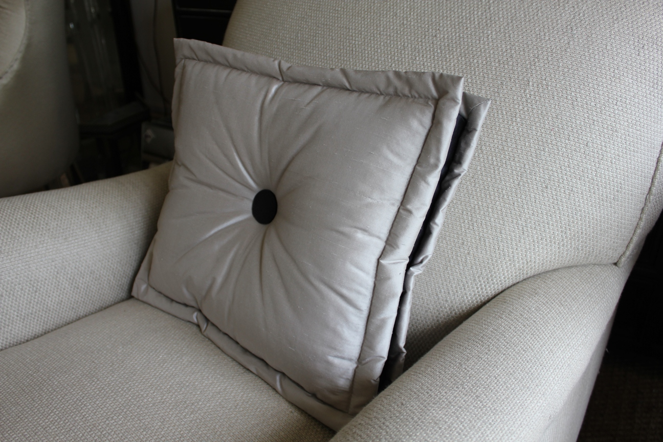 1. Box pillow cushion with border and button