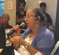 Longtime Evanston resident Judith Treadway speaking at first community reparations meeting at Gibbs-Morrison on July 11. [RoundTable photos]