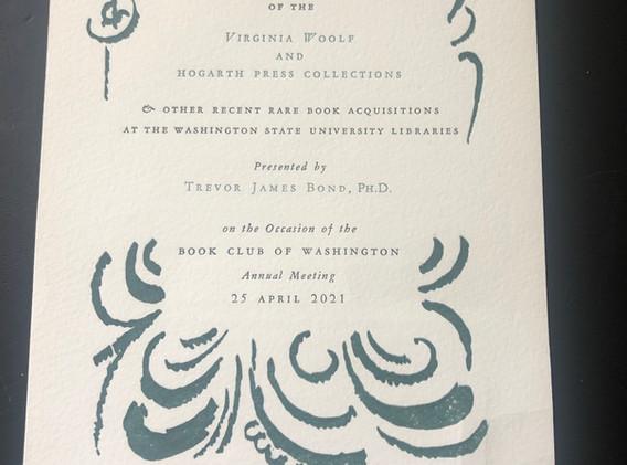 Virgina Woolf & Hogarth Press (2021