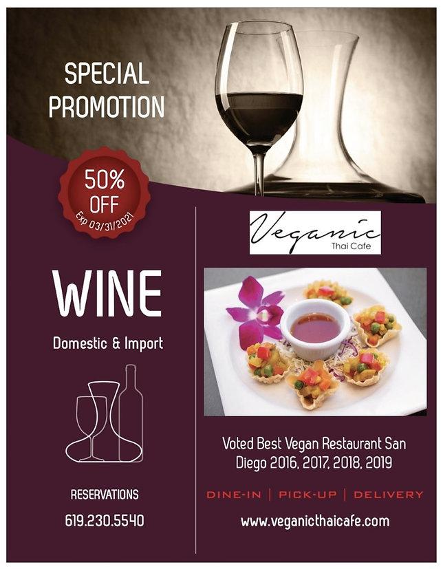 Veganic Thai Cafe Wine Promotion