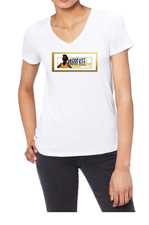 Women's White V-Neck