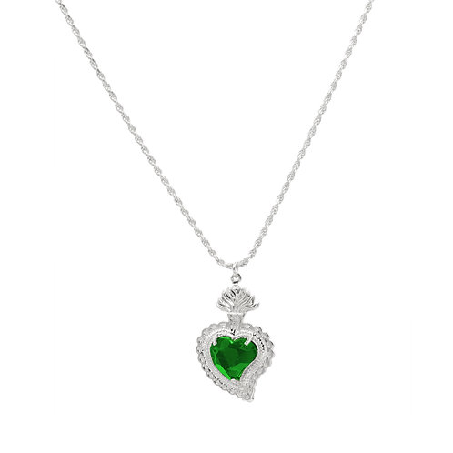 Radiant Heart Rope Necklace (Green)