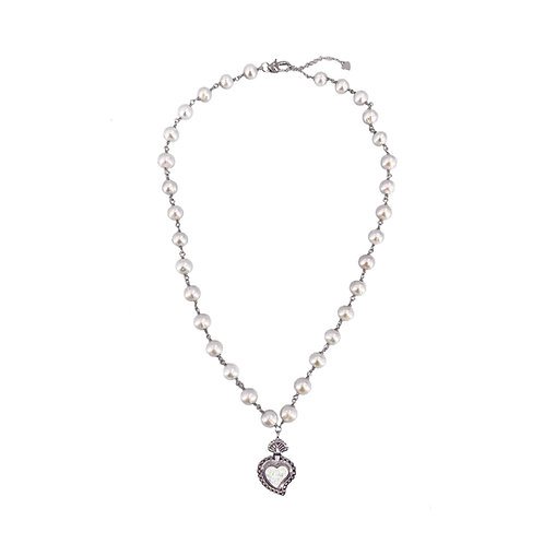 Radiant Heart Pearl Necklace (Opal)