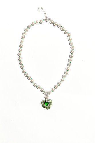 Radiant Heart Bead Necklace (Green)