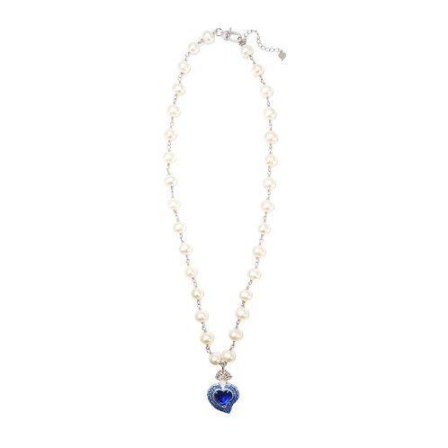 Rocky Radiant Heart Pearl Necklace (Royal)