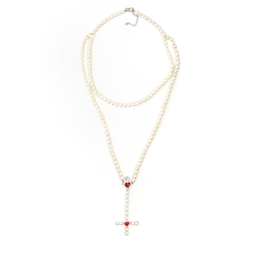 Double Cross Pearl Rosary