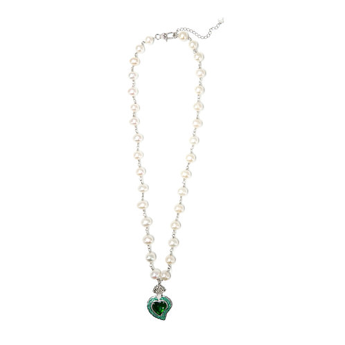 Rocky Radiant Heart Pearl Necklace (Green)