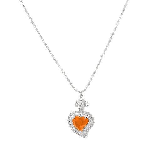 Radiant Heart Rope Necklace (Orange)