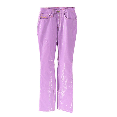 Solid Boss Leather Pants (Lavender Croc)