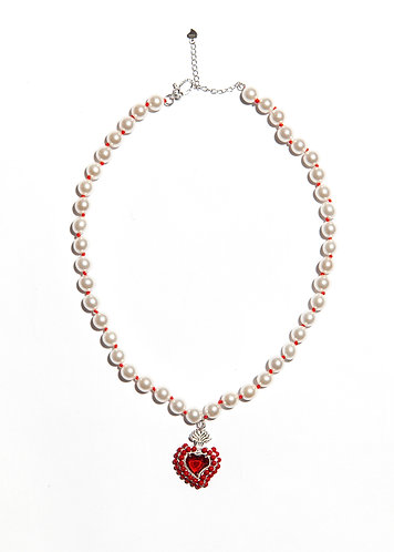 Radiant Heart Bead Necklace (Red)