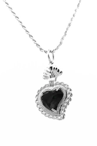 Radiant Heart Rope Necklace (Black)