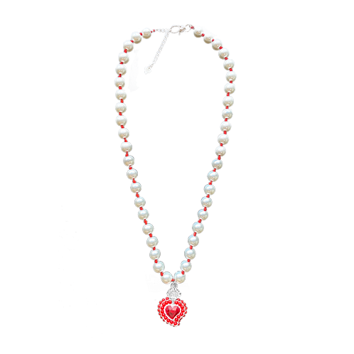 Radiant Heart Pearl Necklace (Red Bead)