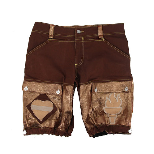 Romping Cargo Shorts (Brown/Gold)