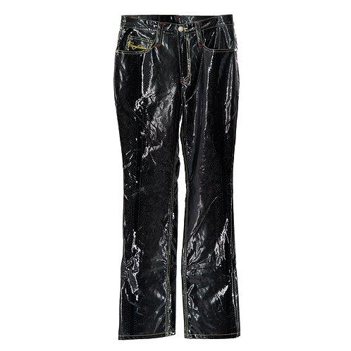 Solid Boss Leather Pants (Black Croc)