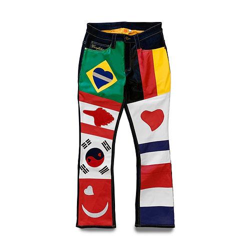 World Boss Leather/Denim Pants