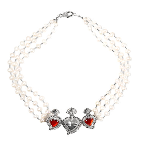 Trio Radiant Heart Pearl Necklace