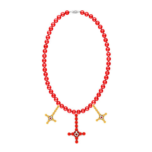 Three Cross Necklace (Red/Yellow)