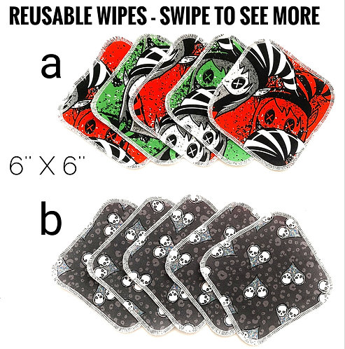 REUSABLE WIPES - PACK OF 5 WIPES