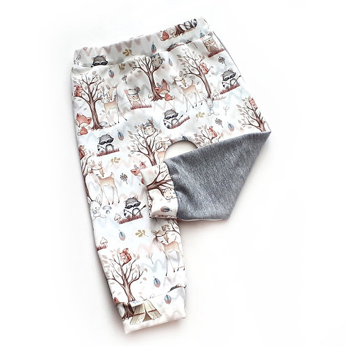 Forest friends trousers with plain grey back SIZE 9-12