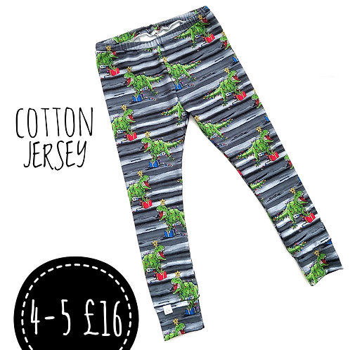 BLACK AND GREY TREE-REX LEGGINGS SIZE 4-5 ONLY
