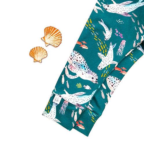 SWIMMING SEALS TEAL leggings/trousers/harems