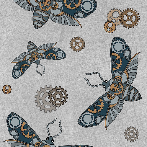 Steampunk moths dribble bib - grey