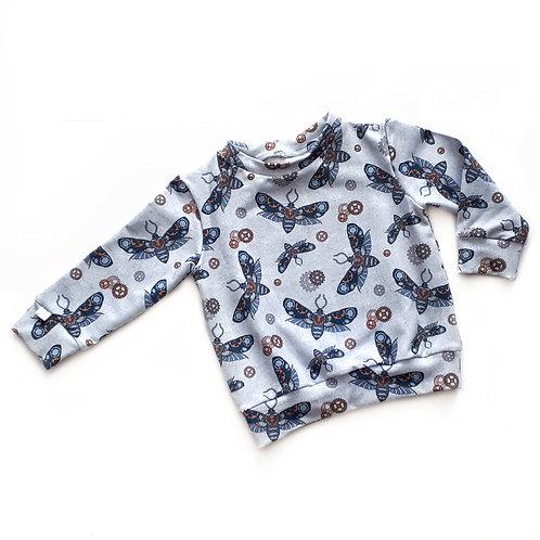 GREY STEAMPUNK MOTHS sweatshirt or hoody