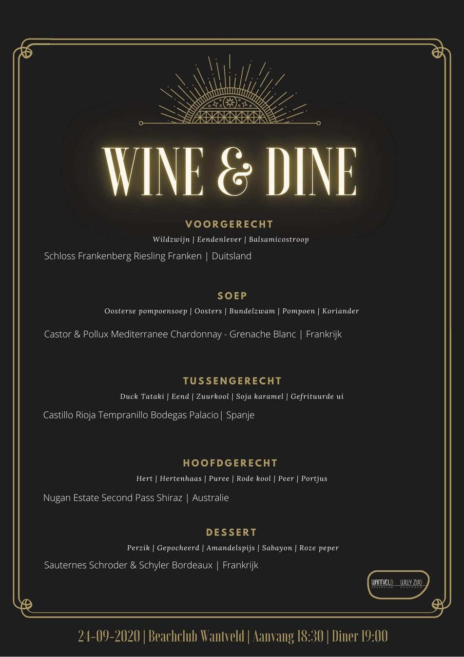 CANCELLED | Wine & Dine Avond | 24-09-20