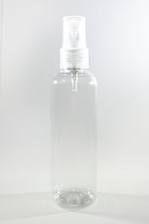 100ml PET Cylindrical Clear Bottle with Sprayer