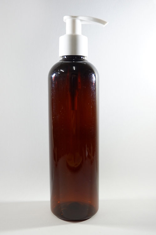 250ml PET Cylindrical Amber Bottle with Lotion Pump