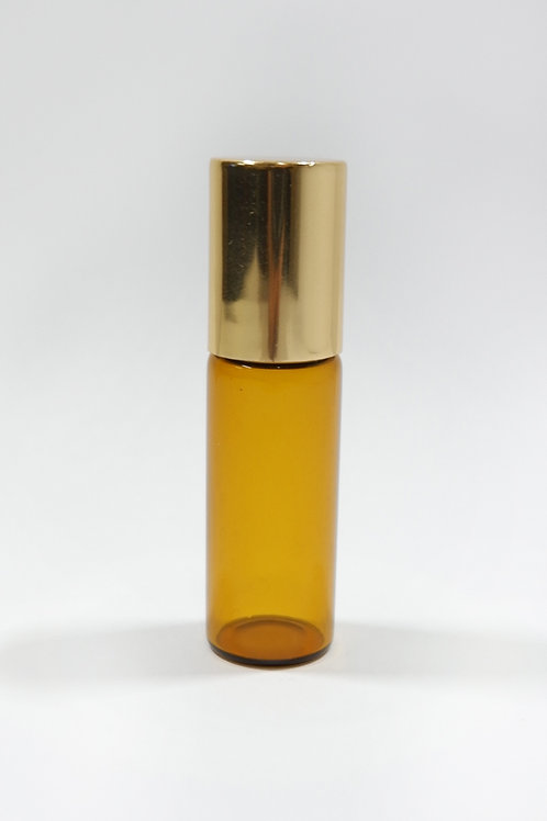 5ml Glass Roller Amber Bottle with Gold Cap