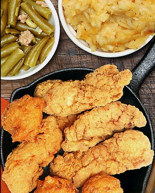Hand Breaded Chicken Tenders, Green Beans, and Potato Casserole.  Visit Moose Cafe in Piedmont Triad, NC Or Asheville and enjoy Classic Southern Fare at its best. 311x388.jpg