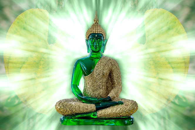 Buddha statue in with design background.
