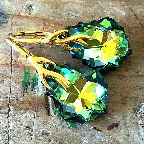 SAHARA OLIVE GREEN SAGE AMBER KHAKI SWAROVSKI® CRYSTALS 24K GOLD DANGLES