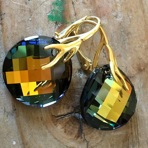UNUSUAL COLOUR TABAC SWAROVSKI® CRYSTALS 24K GOLD DANGLES OLIVE GREEN SAGE AMBER