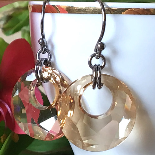 BEIGE GOLDEN SHADOW SWAROVSKI® CRYSTALS DARK RHODIUM DANGLE EARRINGS VANILLA TAN
