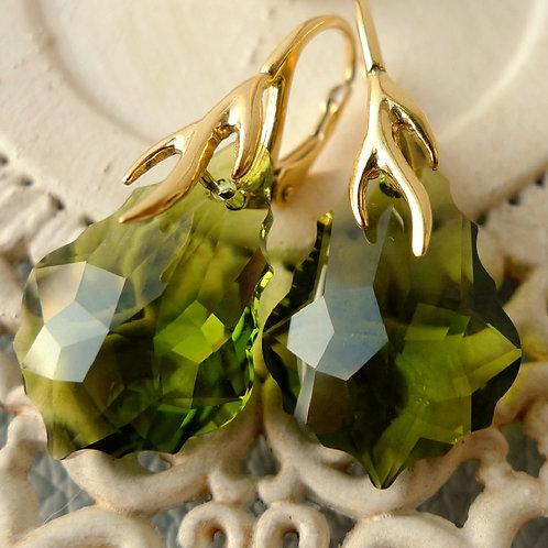 OLIVE GREEN EARRINGS SWAROVSKI® CRYSTALS 24K GOLD OLIVINE KHAKI WOODLAND GREEN
