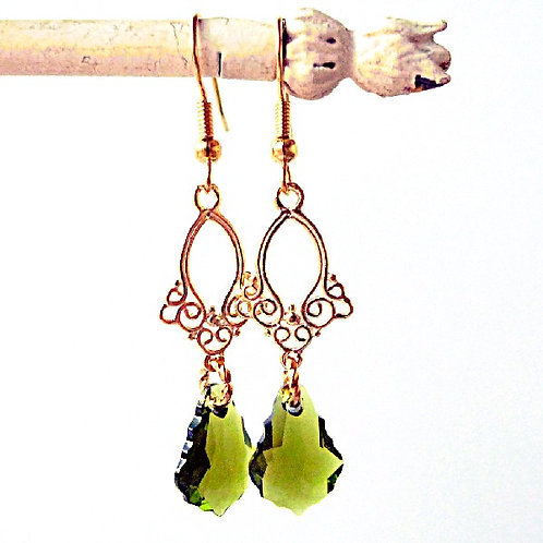OLIVINE ARABESQUE DROP EARRINGS SWAROVSKI® CRYSTALS 24K GOLD OLIVE GREEN KHAKI