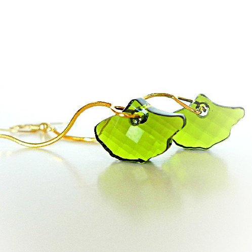 GINGKO LEAVES OLIVINE GREEN SWAROVSKI® CRYSTALS EARRINGS LONG CHAIN 24K VIRIDIAN
