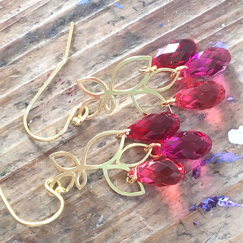 LEAF CHANDELIER EARRINGS WITH SWAROVSKI® CRYSTALS 24K GOLD IN REDS AND FUCHSIA