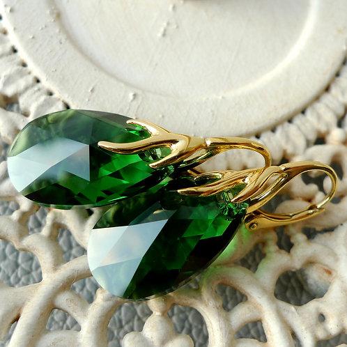 MOSS GREEN EARRINGS SWAROVSKI® CRYSTALS 24K GOLD FOREST GREEN WOODLAND JADE