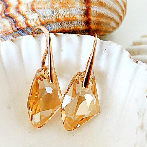 VANILLA HONEY EARRINGS GOLDEN SHADOW SWAROVSKI® CRYSTALS 18K ROSE GOLD