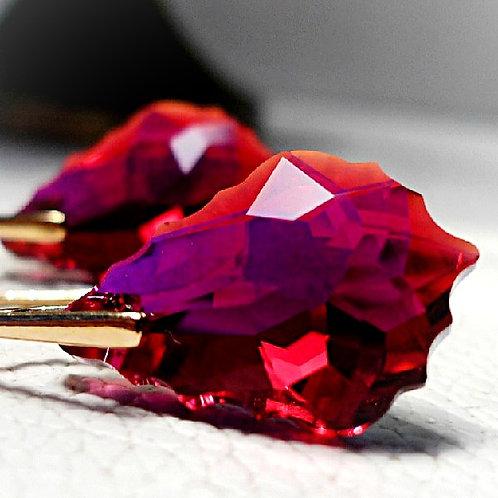 RUBY SWAROVSKI® CRYSTALS GOLDEN DANGLE EARRINGS RED CRANBERRY SCARLET CRIMSON