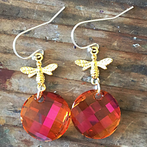 ASTRAL PINK AMBER BEE EARRINGS WITH SWAROVSKI® CRYSTALS ORANGE FUCHSIA SHIMMER